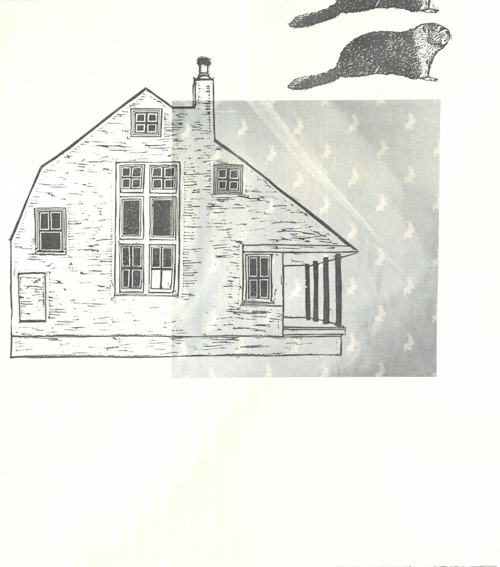 House/Home Series  linocut and chine collé 13.75 x 16 inches 2017