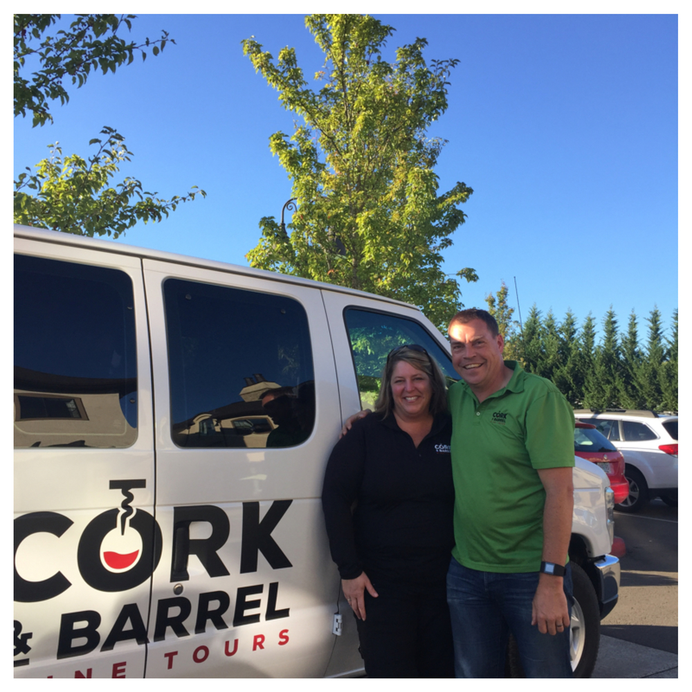 Cork & Barrel Tours ; witty, charming, fun, tolerant, kind, funny, and best of all, safe. I'll make sure you are with The Best: Kimberly and Eric Benjamin.