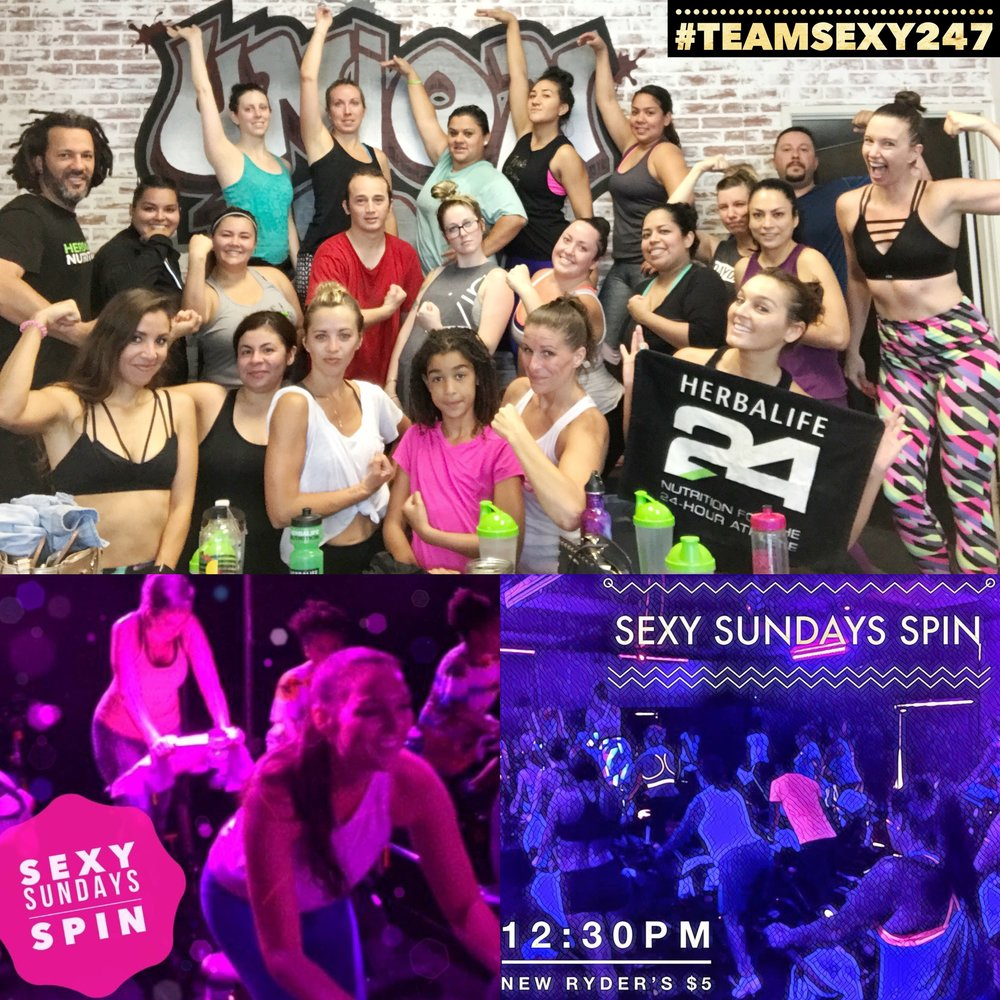 "#TeamSexy247SexySundays  JOIN US 12:30PM • $5 NEW RYDERS SPIN | SEXIES | SHAKES | SEXY BOSS RESULTS 🔥💪  T EXT ""SEXY SUNDAYS"" TO 310-621-7722 TO RESERVE YOUR BIKE"