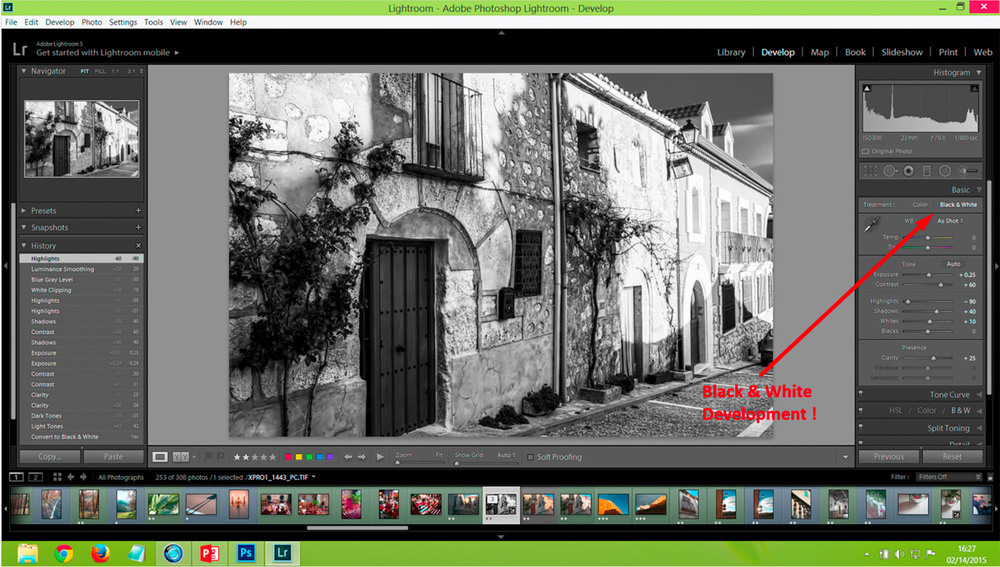 First step in Lightroom is to  change over to Black & White ...