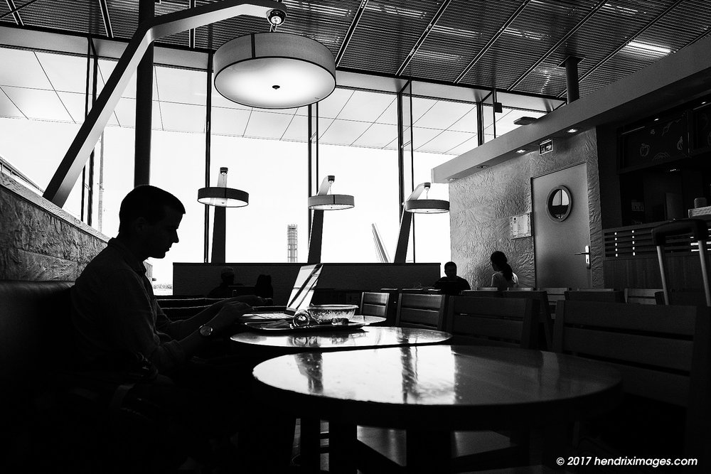 Waiting at the Airport, seen with Fuji X-Pro2 and XF 16 mm f1.4 WR, SOOC ACROS JPEG