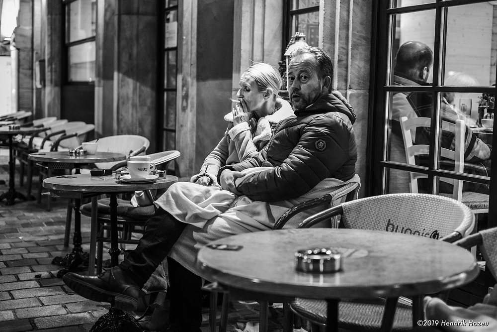 Coffee & smoking outside! Fuji X-H1 with XF 35mm d/1.4 @f/2, 1/45 sec, ISO 800 using ACROS-R JPEG