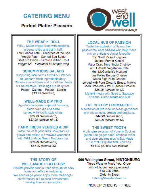 west end well ottawa local organic vegan vegetarian catering company ottawa