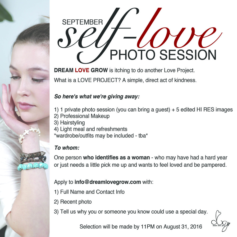 free photo shoot for women ottawa dream love grow act of kindness love project