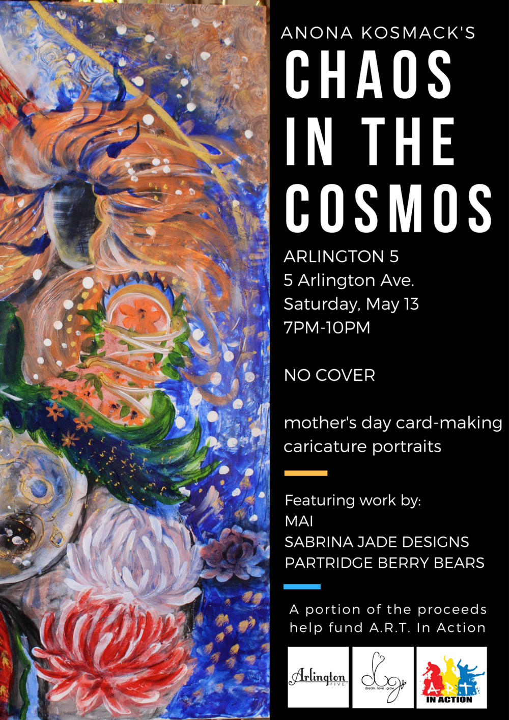 anona kosmack art show arlington five chaos in the cosmos