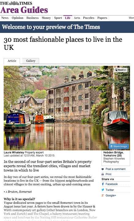 Courtesy of The Times - Most fashionable place to live in the UK