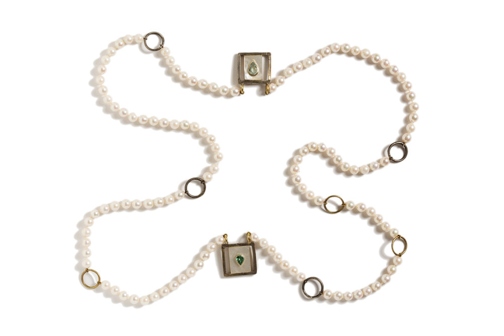 Necklace NEW PEARLS in gold,silver ,aquamarine, emerald.jpg