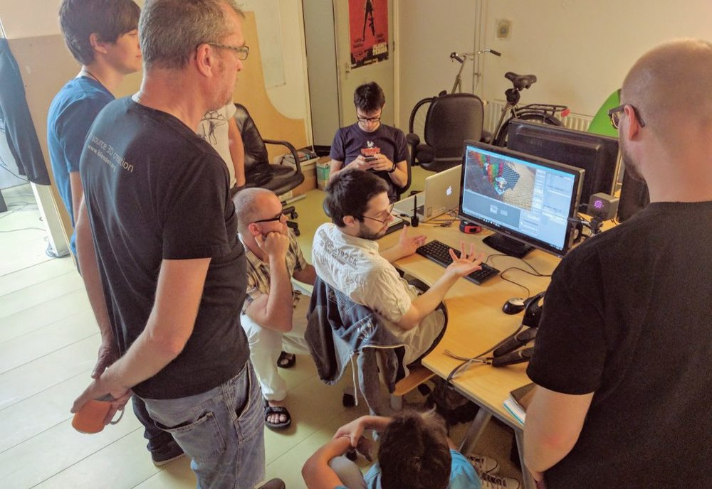 Ton and developers at the Blender Institute (Amsterdam)