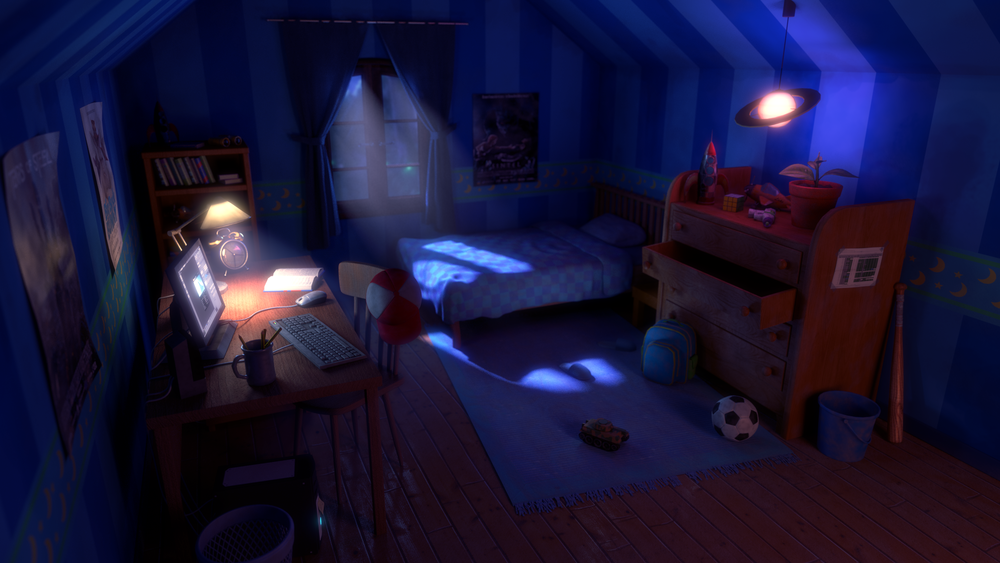 This image is the work in progress of the new Luke's room, one of the scenes of the short film, and you can learn the tricks we used to make it with LEHS!