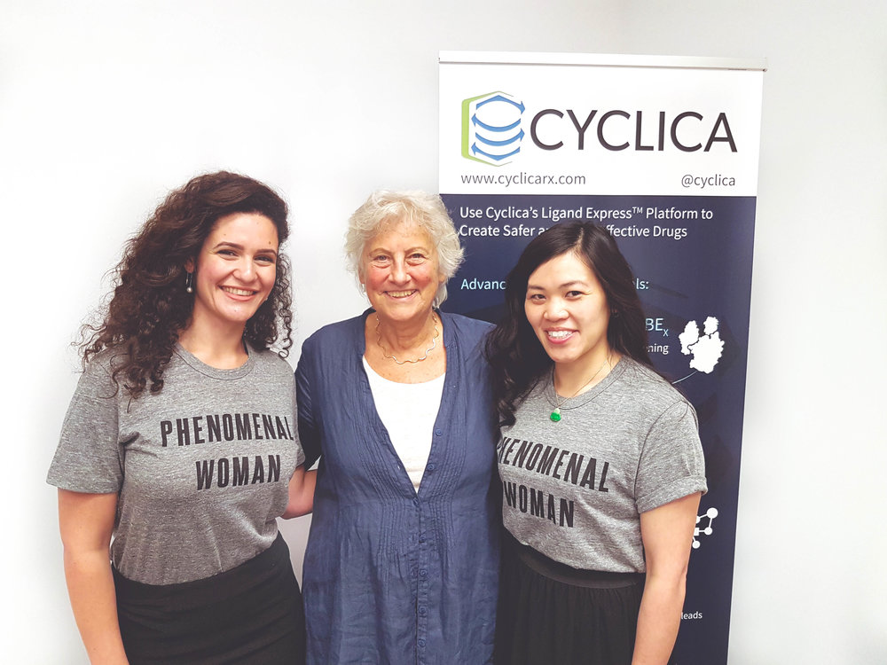 "From left to right: Sana Alwash, Shoshana Wodak, and Sonia Seto. ""Phenomenal Women"" t-shirts were purchased from Omaze, an online fundraising platform supporting critical causes. Proceeds were donated to Seven Fearless Women's Organizations."