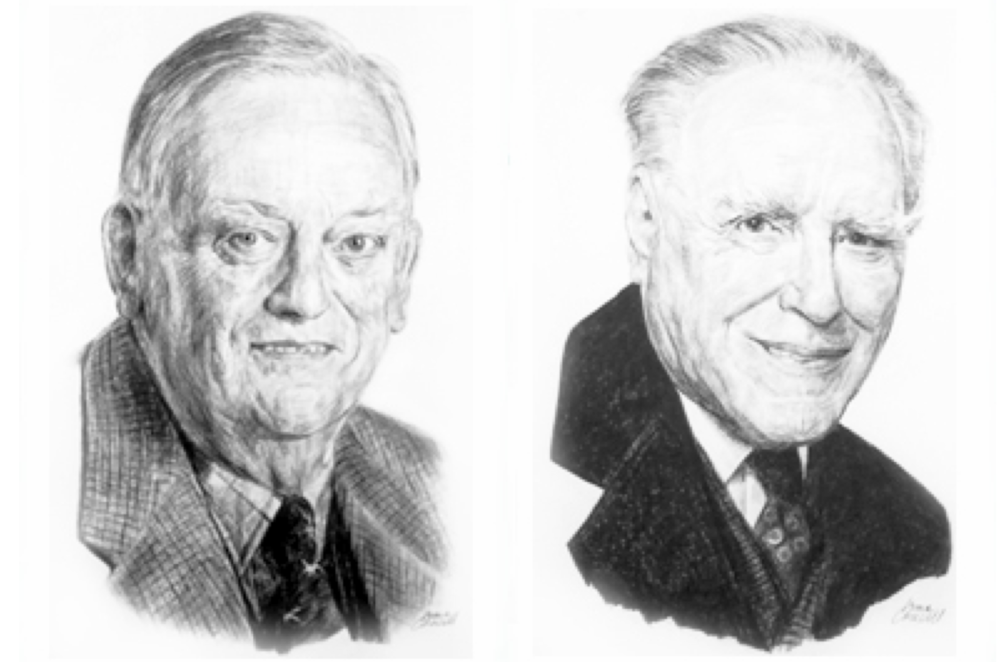 Figure 1: Drs.  Robert Noble  (left) and  Charles Beer . Sketches by Irma Coucill and the Canadian Medical Hall of Fame.