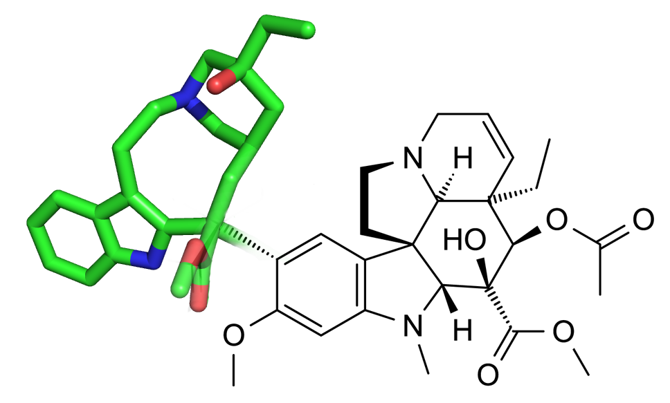 Figure 3. 2D-3D Fused structure of the Vinca alkaloid, Vinblastine, a world's essential medicine for the treatment of cancer.