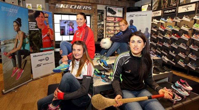 Launch of the WGPA and Skechers partnership, supporting the WGPA Player of the Month, at Skechers, Opera Lane, Cork. Annie Walsh, Cork Senior Ladies Football, Gemma O'Connor, Cork Senior Ladies Camogie, Grainne Kenneally, Waterford Ladies Football and Muiriam Walsh, Kilkenny Ladies Camogie. Picture: Jim Coughlan.