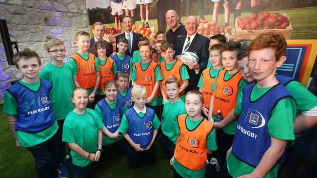 An Taoiseach Enda Kenny TD, IRFU President Stephen Hilditch and Irish rugby legend Paul O'Connell were part of the Aldi Play Rugby launch in Dublin