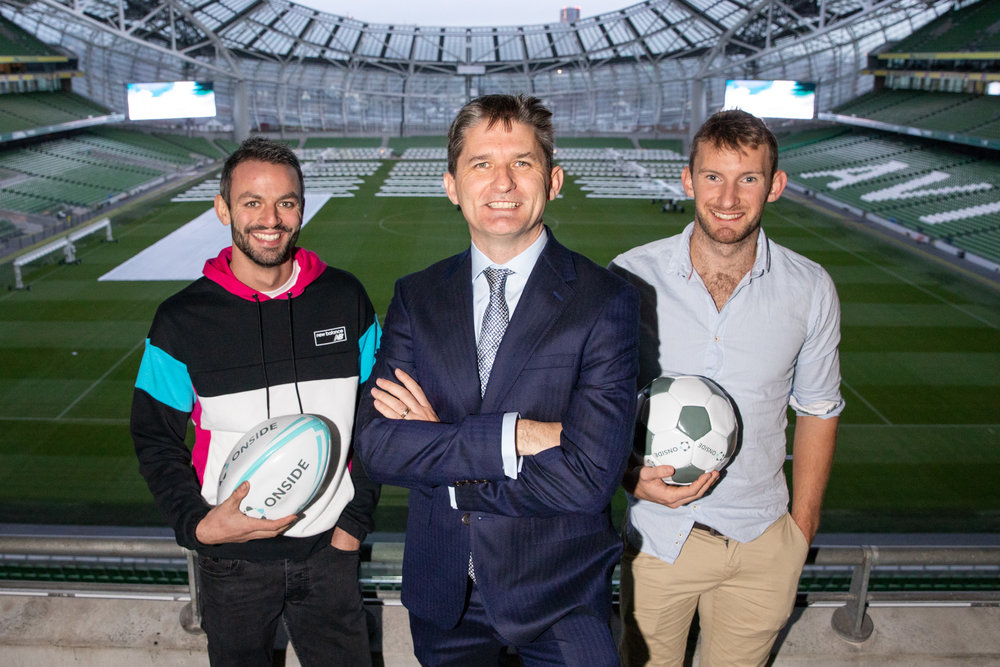 European Athletics Championships 2018 Bronze Medallist, Thomas Barr, ONSIDE founder & CEO, John Trainor, and World Rowing Championships Gold Medallist, Gary O'Donovan at 'Who Won the Summer of Sponsorship 2018?' at the Aviva Stadium