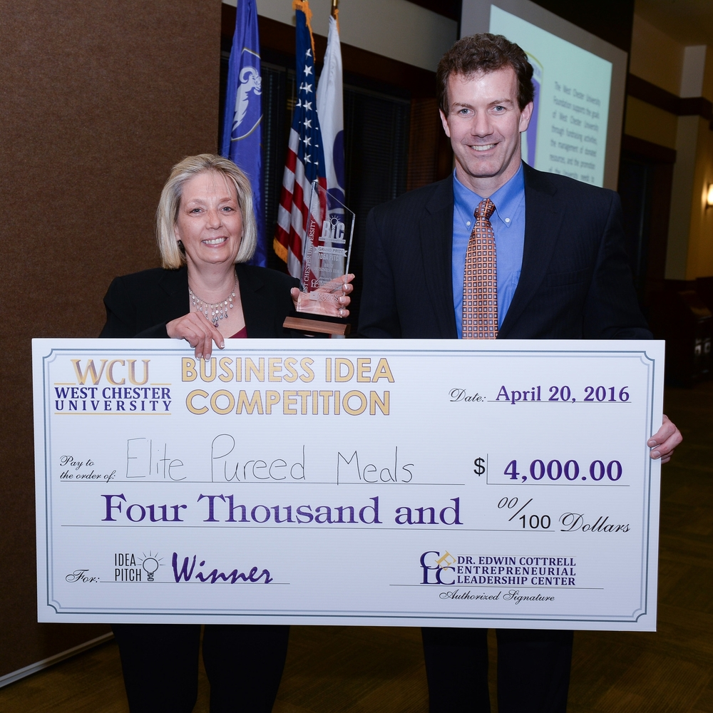 Colleen McCloskey, Elite Pureed Meals Grand Prize Winner of the 2016 West Chester University Business Idea Competition and 1st Place, Professional Division Pictured: Colleen McCloskey and Matt Shea