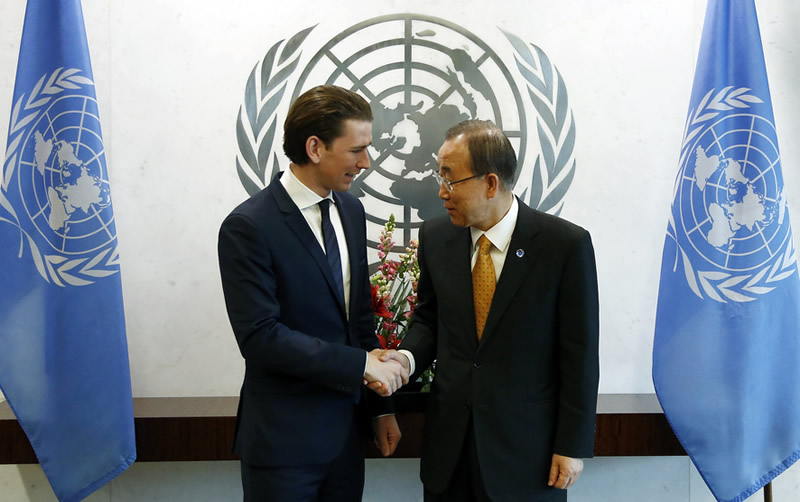 Austrian Foreign Minister Sebastian Kurz meets UN Secretary-General Ban Ki-moon. New York, UN, March 27, 2015. Photo:BMEIA/Tatic