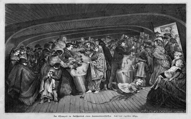 Most immigrants and their families crossed the Atlantic in steerage.