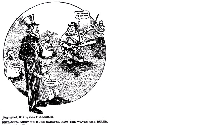 """Britannia must be more careful how she waves the rules."" Cartoon by John T. McCutcheon, 1914"