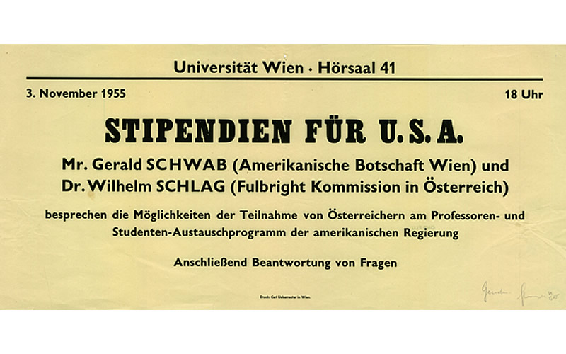 """Scholarships for the USA,"" at the University of Vienna, November 3, 1955. Representatives from the U.S. Embassy Vienna and the Austrian Fulbright Commission discuss the exchange program for Austrian professors and students. (Österreichische Nationalbibliothek)"