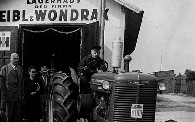 One of 22 new diesel tractors paid for by the Marshall Plan and assembled by Eibl & Wondrak, Austrian agents for the U.S. company International Harvester, Vienna, May 1949.