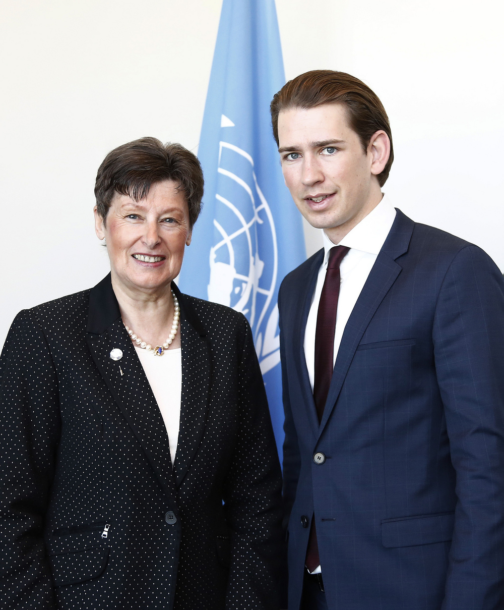 Foreign Minister Sebastian Kurz meets Angela Kane, High Representative of Disarmament,  Review   Conference of the Non-Proliferation Treaty (NPT) at the United Nations. Photo: Dragan Tatic.