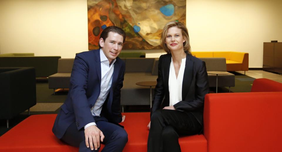 Foreign Minister Sebastian Kurz with Bettina Zerza, architect of the recently reopened Cafe Vienna at the United Nations in New York City.