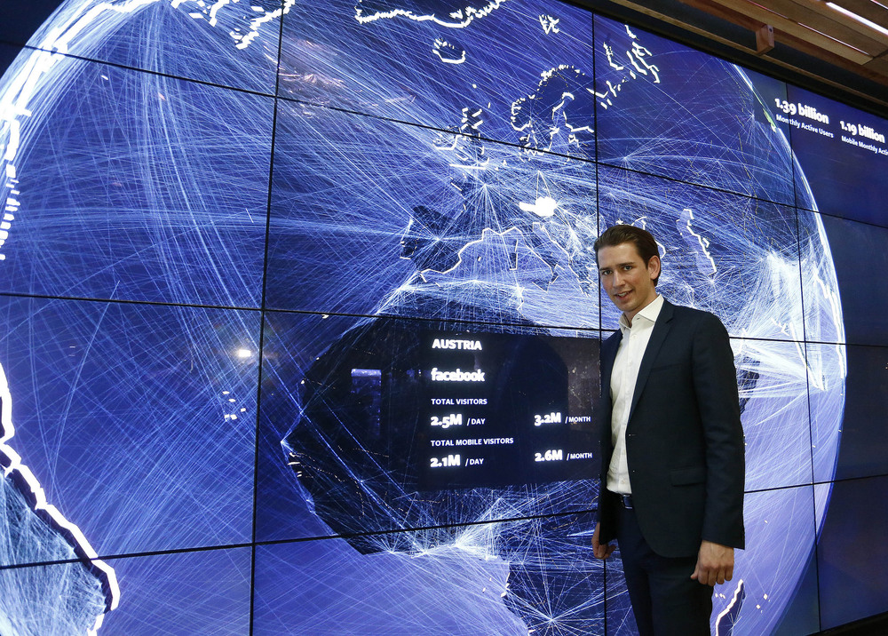 Foreign Minister Sebastian Kurz at Facebook headquarters. Photo: Dragan Tatic.