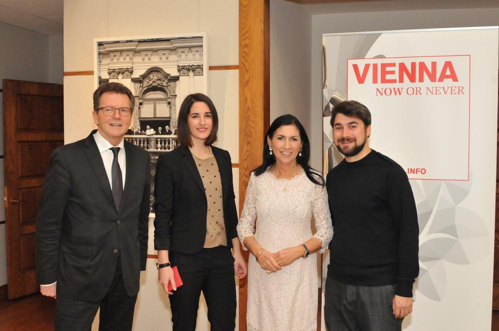 Amb. Wolfgang Waldner, Helena Hartlauer (Vienna.info), Danielle Spera, Andrew Mezvinsky