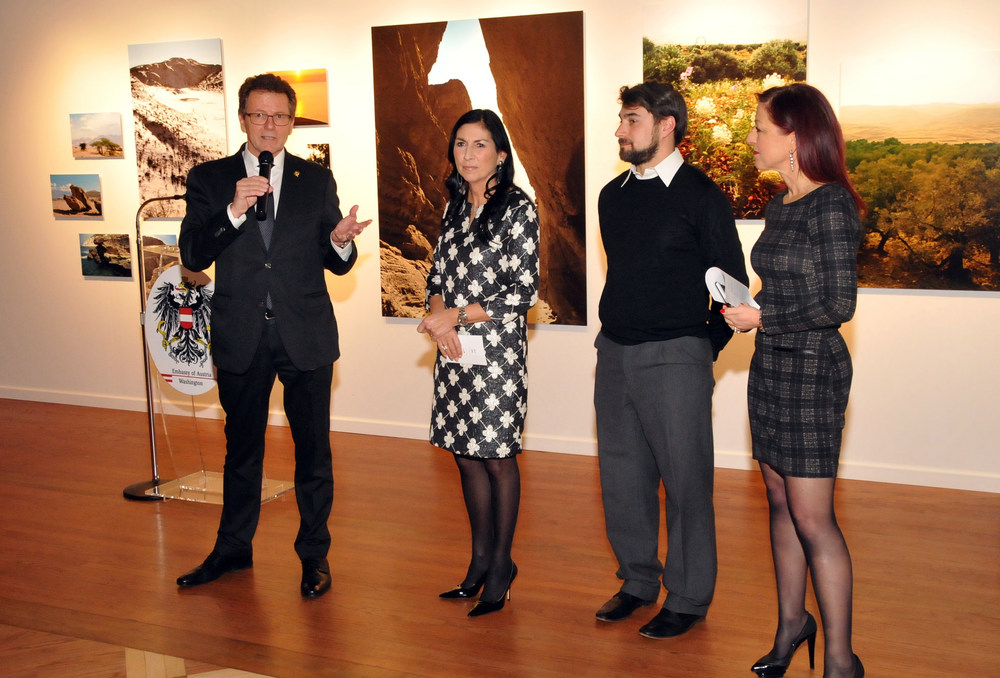 Ambassador-Apointed Wolfgang Waldner, Danielle Spera, Andrew Mezvinsky, and Hannah Lessing.