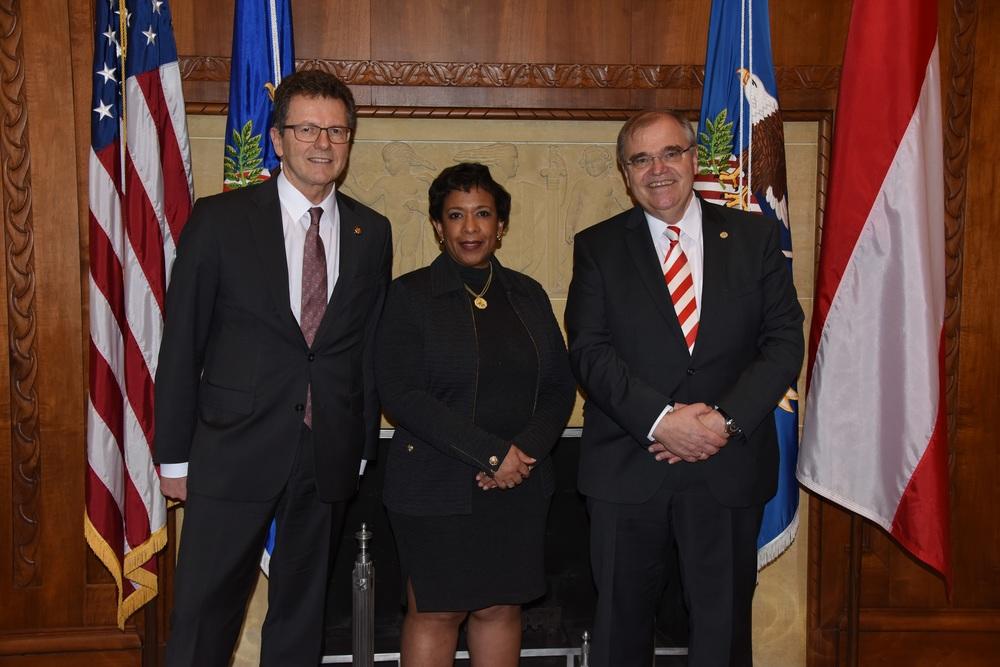 Minister Brandstetter and Ambassador Waldner meet Attorney General Loretta Lynch