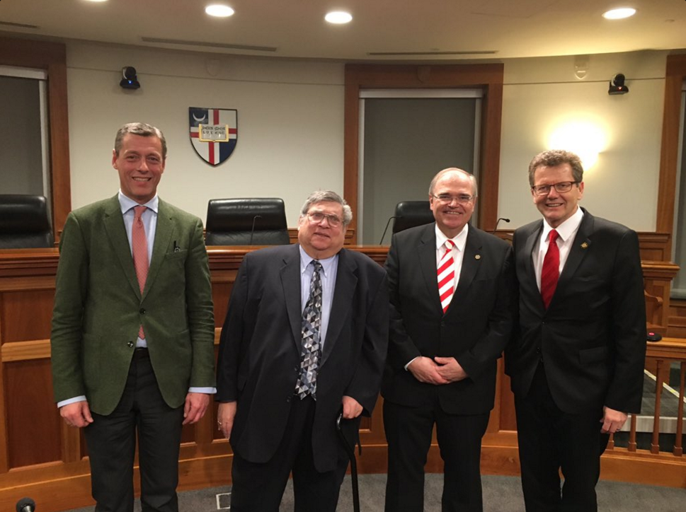 Minister Brandstetter, DG Pilnacek, and Ambassador Waldner with Prof. Marshall Breger (Catholic University) after lecture.