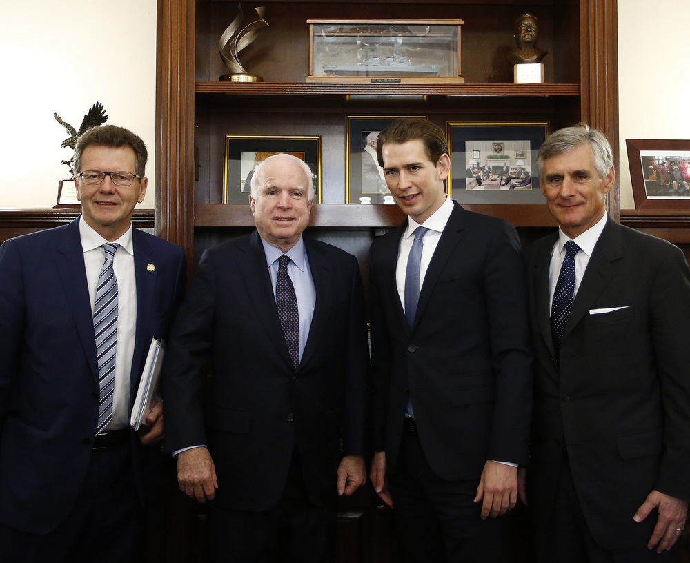 Senator Mc Cain with FM Kurz, SG Linhart & Amb. Waldner. Photo: Dragan Tatic