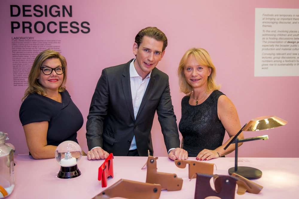 Foreign Minister Sebastian Kurz with Lilli Hollein and ACFNY director Christine Moser. Photo: David Plakke/ACFNY