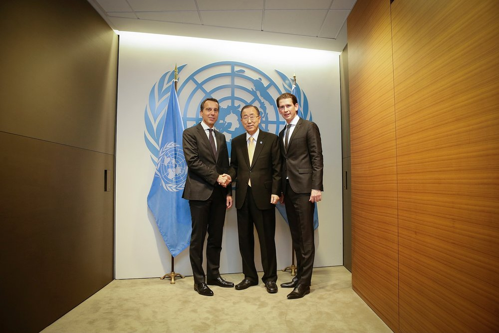 Chancellor Christian Kern, UN-SG Ban Ki Moon, and Foreign Minister Sebastian Kurz. Photo: BKA/Andy Wenzel