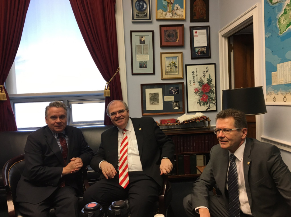 From left:  Chairman of the U.S. Helsinki Commission, Congressman Chris Smith, Austrian Minister of Justice Wolfgang Brandstetter, Ambassador Wolfgang Waldner Photo: Twitter/ @WaldnerWolfgang