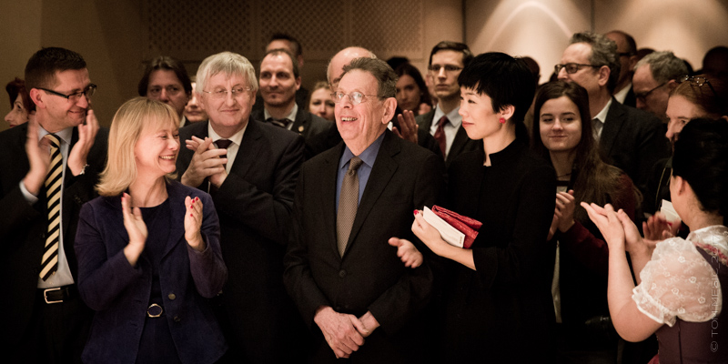 (front): Austrian Cultural Forum New York Director Christine Moser, composer Philip Glass.  Photo: Tom Mesic