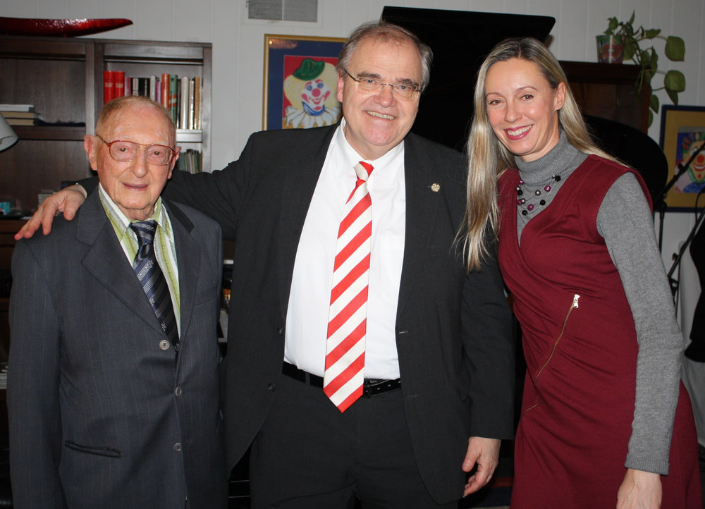Composer Walter Arlen, Minister Wolgang Brandstetter, Consul General Ulrike Ritzinger Photo: Austrian Consulate General Los Angeles