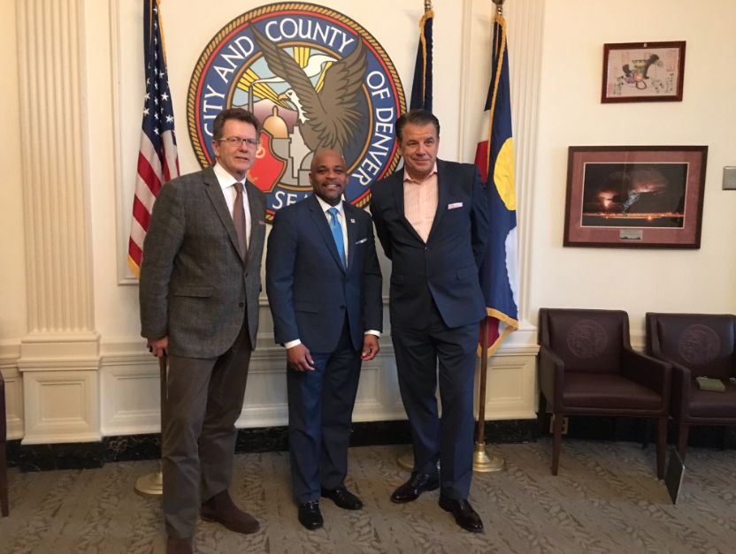 Ambassador Waldner and Western Union Chief Executive Officer Hikmet Ersek in the office of Denver Mayor Michael B. Hancock (center).