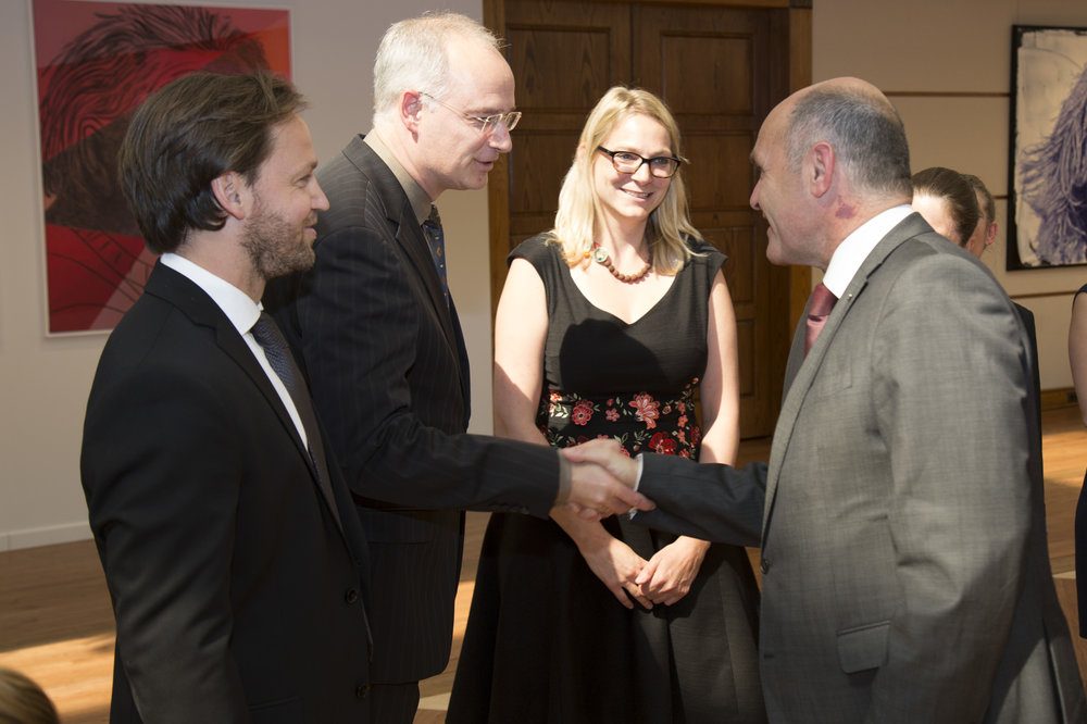 Federal Minister Wolfgang Sobotka greets Embassy staff: From left: Christoph Palaschke, Minister for Information Thorsten Eisingerich, Cultural Officer Birgit Witamwas, Wolfgang Sobotka.  Photo: BMI/ Jürgen Makowecz