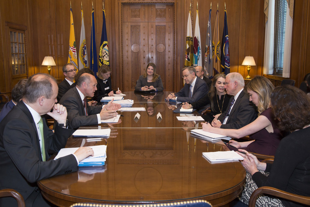 "Federal Minister Sobotka and delegation meet Attorney General Jeff Sessions.         96              Normal   0           false   false   false     EN-US   X-NONE   X-NONE                                                                                                                                                                                                                                                                                                                                                                                                                                                                                                                                                                                                                                                                                                                                                                                                                                                                                     /* Style Definitions */ table.MsoNormalTable 	{mso-style-name:""Table Normal""; 	mso-tstyle-rowband-size:0; 	mso-tstyle-colband-size:0; 	mso-style-noshow:yes; 	mso-style-priority:99; 	mso-style-parent:""""; 	mso-padding-alt:0in 5.4pt 0in 5.4pt; 	mso-para-margin:0in; 	mso-para-margin-bottom:.0001pt; 	mso-pagination:widow-orphan; 	font-size:12.0pt; 	font-family:Calibri; 	mso-ascii-font-family:Calibri; 	mso-ascii-theme-font:minor-latin; 	mso-hansi-font-family:Calibri; 	mso-hansi-theme-font:minor-latin;}      Photo: BMI/ Jürgen Makowecz"