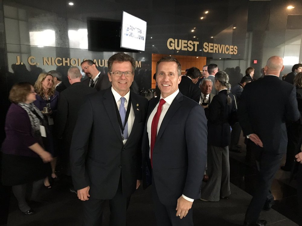 Ambassador Wolfgang Waldner (left) with the Governor of Missouri, Eric Greitens.    Photo: Twitter.com/ @WaldnerWolfgang
