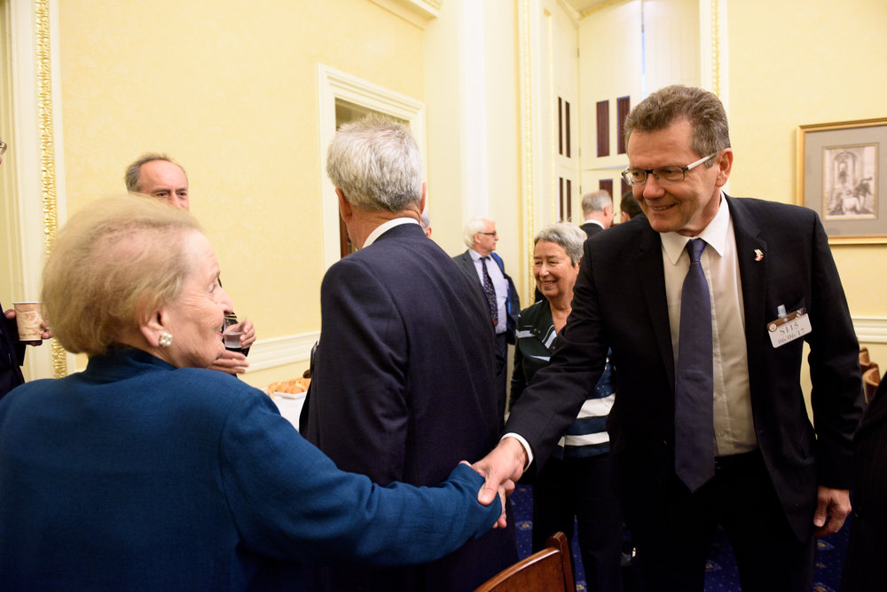 Austrian Ambassador to the U.S. Wolfgang Waldner (right) meeting Madame Secretary Madeleine Albright (c) Kaveh Sardari Photography