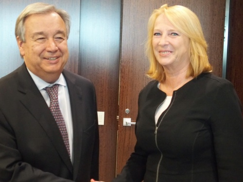 Speaker Doris Bures and UN Secretary-General António Guterres, July 5,2017. Photo: Parlament