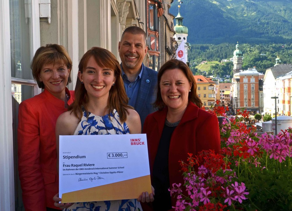 With Mayor of Innsbruck Christine Oppitz-Plörer (left), UNO President Nicklow, and program director Irene Ziegler (right). Photo: Christian Wucherer