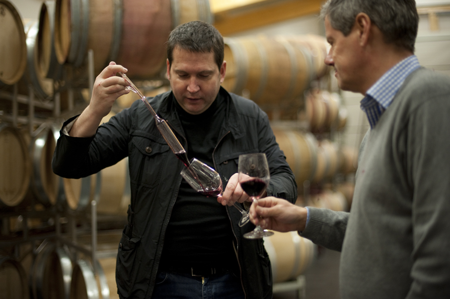 Anton Bauer, left, winemaker and partner in Wittauer's import company,  KWSELECTION