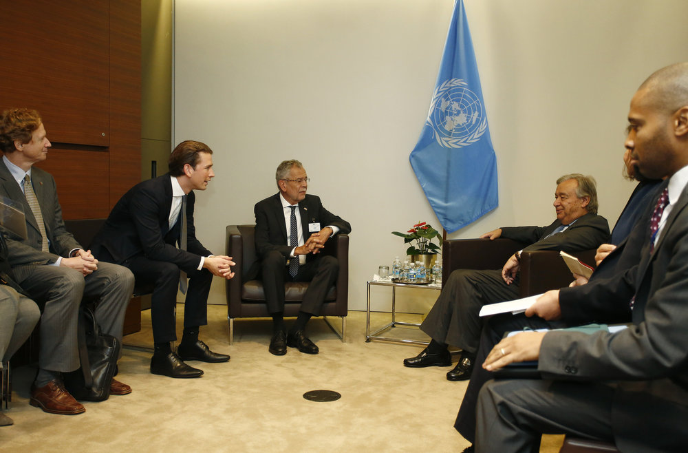 President Alexander Van der Bellen and Foreign Minister Sebastian Kurz meet with UN Secretary-General Antonio Guterres in New York, September 20, 2017, Photo: Dragan Tatic