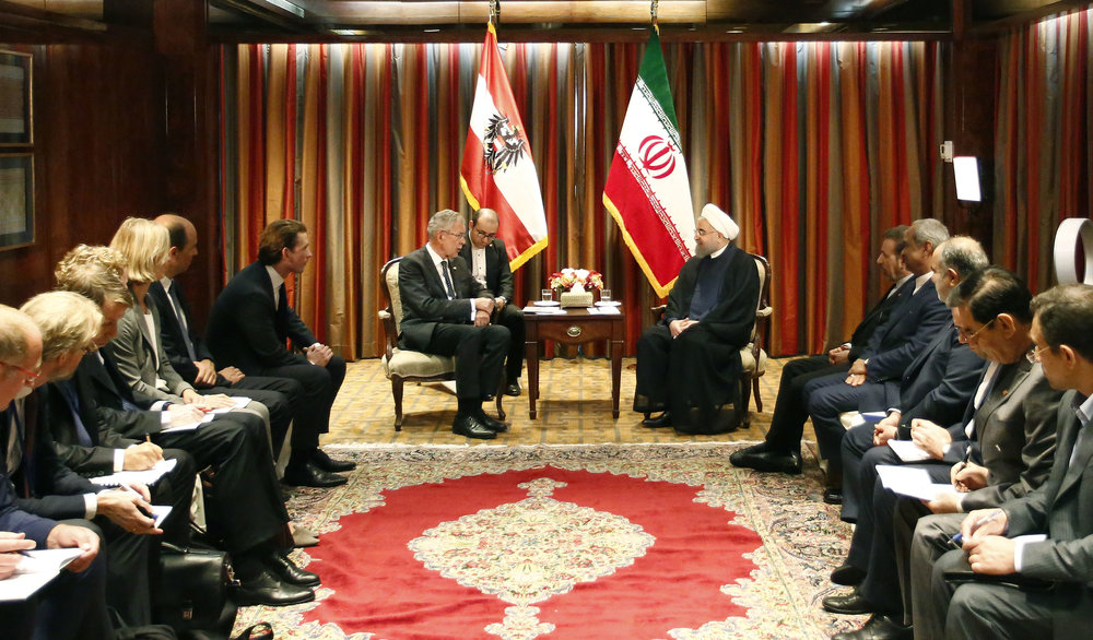 President Alexander Van der Bellen and Foreign Minister Sebastian Kurz meet with President Hassan Rouhani of Iran, Photo: Dragan Tatic