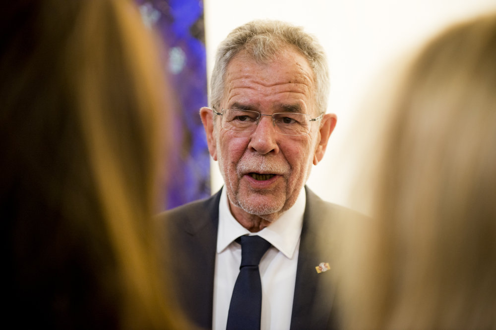 President Alexander Van der Bellen at the  WILD WEST  Opening Reception, September 19, 2017, at the Austrian Cultural Forum New York, Photo: David Plakke/ACFNY