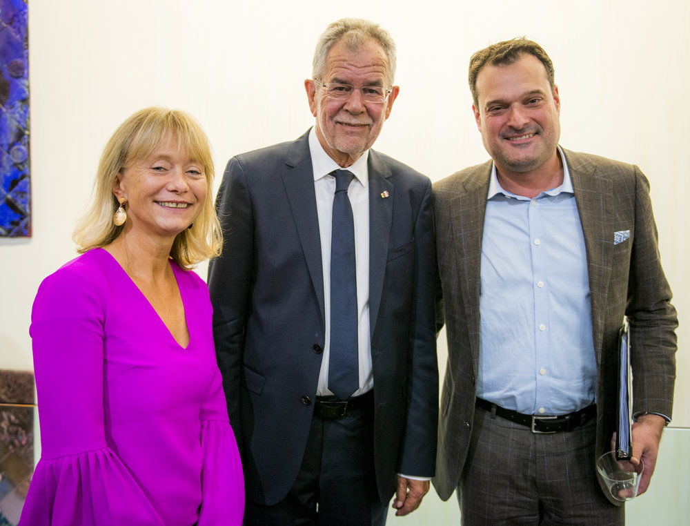 Left: ACFNY Director Christine Moser, Austrian President Alexander Van der Bellen, and Michael Friedl, Head of ADVANTAGE Austria in New York, at the  WILD WEST  Opening Reception, September 19, 2017, Photo: David Plakke/ACFNY